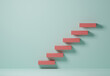 3d rendering illustration abstract staircase. Red block staircase on green background minimal style with copy space. Business growth, plan for successful goal target, quality improvement concept.