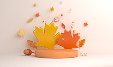 Autumn Display Podium Decoration Background With Maple Oak Leaves Acorn, Copy Space Text, 3D Rendering Illustration
