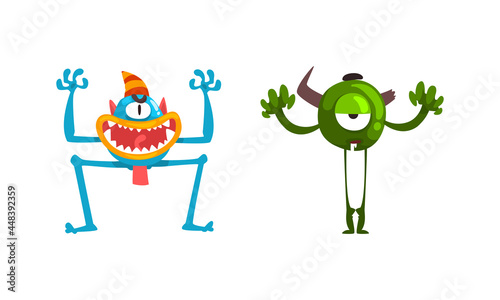 Fotografie, Obraz Monster with Wide Open Toothy Mouth in Frightening Pose Vector Set