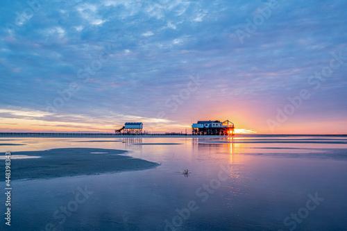 Sankt Peter Ording Strand Sonnenuntergang