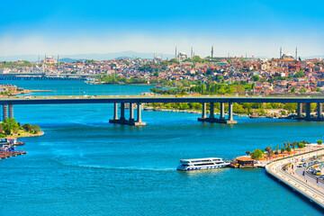 Istanbul city panorama with Halic Metro Bridge or Golden Gate Bridge