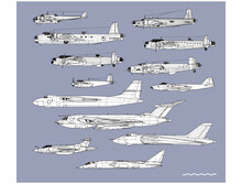 History Of British Bombers. Outline Vector Drawing. Image For Illustration And Infographics.