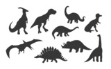 Set of silhouette  dinosaurs isolated on white background,vector  illustration.