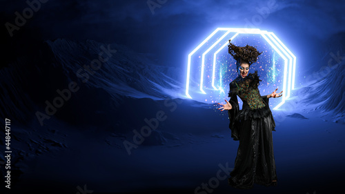 Vászonkép scary dark witch conjuring a spell and creates a portal