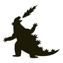 Black Silhouette Godzilla Vector. Monster In The City