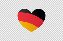 Germany Flag In Heart Shape Isolated  On Png Or Transparent  Background,Symbols Of Germany, Template For Banner,card,advertising ,promote,web Design, News Paper,vector, Top Gold Sport Winner Country