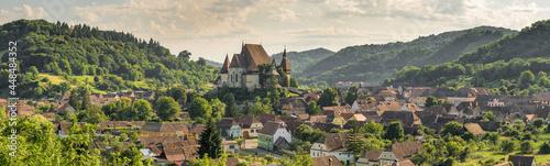 Panorama of Biertan fortified saxon church, Unesco World Heritage site, in Biertan village, Transylvania, Romania, Europe