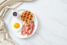 Fried Egg With Bacon And Waffle