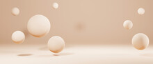3D Rendering Of Light Brown Room And Several Balls For A Scene To Display Products Background. For Show Product. Blank Scene Showcase Mockup.
