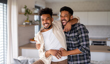Young Adult Brothers In Kitchen Indoors At Home, Having Fun.