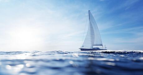 Sailing yacht on the ocean