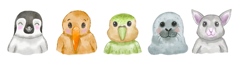 Watercolor set of cute New Zealand animal faces on white background. Hand drawn characters.