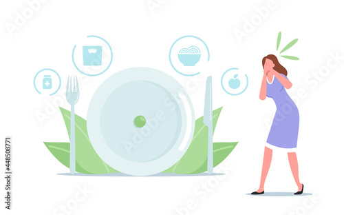 Woman Feel Nausea while Watching on Food. Anorexia or Bulimia Unhealthy Life Concept. Female Mental Dosorder