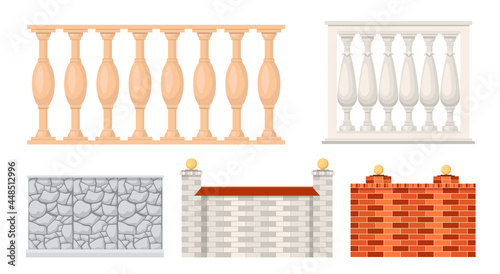 Tela Set of Icons Stone and Marble Fences, Balustrade Sections Made of Brick