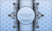 Blue Background With Luxurious Black Vintage Ornaments And Place For Your Design. Template For Print Design Invitation Card With Vintage Ornament.