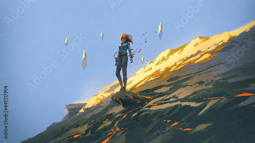 The mysterious woman standing at the rock of the hillside, digital art style, illustration painting