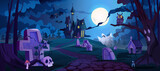 Graveyard and castle in distance, spooky halloween night landscape with tombstones and dry trees, Autumn cemetery and scary scene with crypts and skulls. Full moon shining bright. Cartoon vector