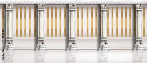 Valokuva Classic roman pillar illustration, vector palace architecture background, vintage room wall, golden stripe