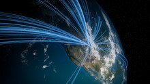 Earth In Space. Blue Lines Connect Denver, USA With Cities Across The World. International Travel Or Business Concept.