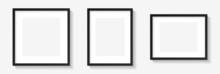 Realistic Picture Frame Mockup Black Border Set. Isolated Black Pictures Frames Mock-up. Home Decoration, Photography Presentation, Blank Frame Mockups. Vector Illustration.