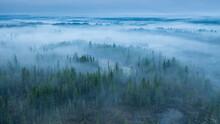 Night Fog Over The Taiga