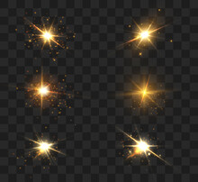 Glow Of Golden Sparks Of Light On A Transparent Background. Blurred Vector Sequins Design Collection. Explosion Flash, Sun, Flash And Bright Cloud.