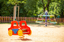 Colorful Children Playground Activities In Public Park In Prague, Czech Republic
