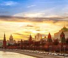 Sunset Of Moscow Kremlin And The Bell Tower Of Ivan The Great And Russian Weapons With Moscow Cityscape, Moscow, Russia