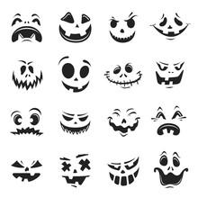 Collection Of Monochrome Halloween Pumpkin Face Vector Flat Illustration Horror Facial Decoration
