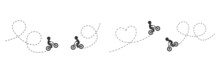 Children On Bicycles Driving On Dotted Route. Different Kids Black Silhouettes Ride Bikes. Healthy Lifestyle. Travel Concept. Vector Illustration Isolated On White