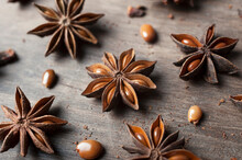 Anise Stars On Wooden Table