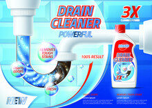 Vector Realistic Drain Pipe Cleaner Ad With Plastic Sewer Clogged With Mud And Liquid Detergent Effect. Silver Sink Sewerage Siphone With Clog On Tiles Background