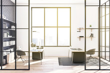 Contemporary Glass Office Interior With Panoramic City View, Sunlight And Large Bookshelf. 3D Rendering.