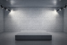 Abstract Grey Interior With Professional Lighting And Pedestal. Mock Up, 3D Rendering.