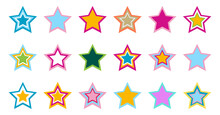 Colorful Star Vector Icons With Different Designs And Colors On White Background