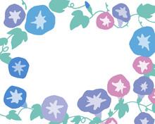 手書きタッチの朝顔イラスト。赤色の朝顔とツタのベクターフレーム Morning Glory Illustration With Handwritten Touch. Vector Frame Of Red Morning Glory And Ivy