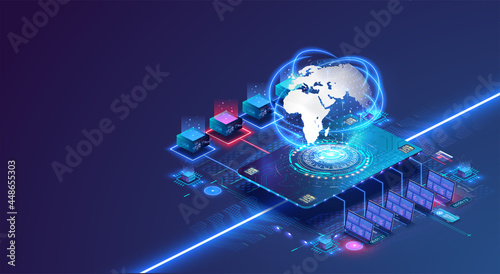 Fotografía Global network concept with hardware computer server data center and hologram globe