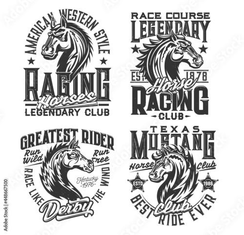 Foto Horse racing sport and equestrian club t-shirt prints