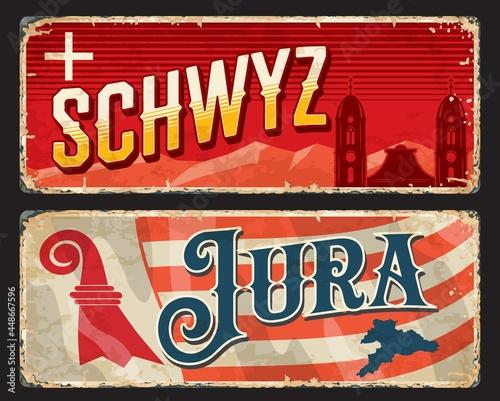 Schwyz and Jura Swiss cantons vintage plates Fotobehang