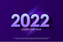 Happy New Year 2022 On Light Streak Background.