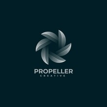 Vector Logo Illustration Propeller Gradient Colorful Style.