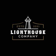 Lighthouse Searchlight Beacon Tower Island Beach Beach Simple Line Art Design Logo Inspiration