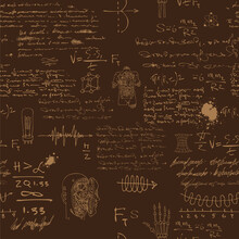 Vector Image Of A Seamless Texture Background In The Style Of Sketches From The Diary Of A Scientist Inventor With Formulas And Notes