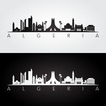 Algeria Skyline And Landmarks Silhouette, Black And White Design, Vector Illustration.