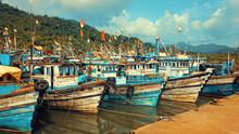 Fishing Boats Anchored At Amdalli Port Near Karwar In Karnataka