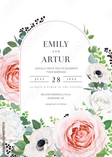 Modern elegant vector floral wedding invitation, invite, save the date card Fotobehang