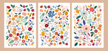 Beautiful Flower Collection Of Posters With Roses, Leaves, Floral Bouquets, Flower Compositions. Notebook Covers
