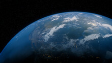 Earth In Space With Views Of USA And North America. Environment Concept.