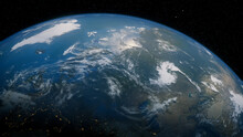 Earth In Space. Photorealistic 3D Render Of The World, With Views Of Russia And North Asia. Global Concept.