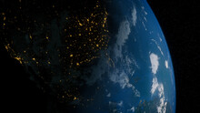 Earth In Space. Photorealistic 3D Render Of The Planet, With Views Of USA And North America. Environment Concept.